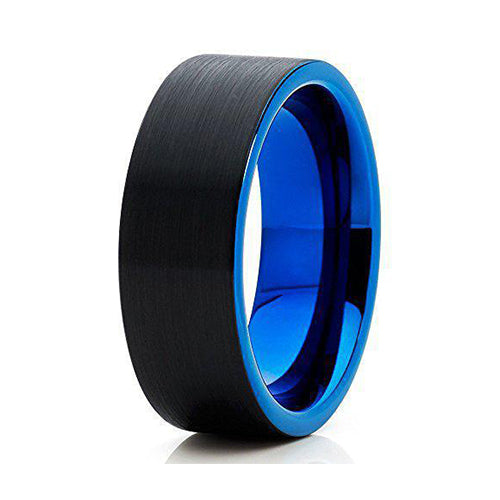 8mm Blue Tungsten Carbide Wedding Band Flat Shape Black Brushed Men & Women Comfort Fit Ring, Tungsten Ring, Heaven Culture Jewelry