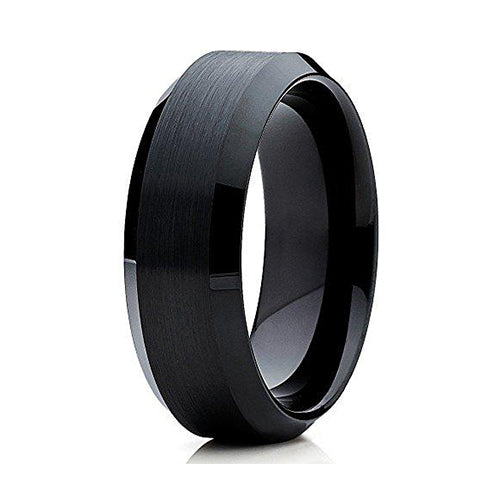 8mm Black Tungsten Carbide Wedding Ring Brushed Finish Band Comfort Fit Mens Womens, Tungsten Ring, Heaven Culture Jewelry