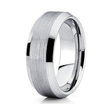 8mm Silver Tungsten Carbide Wedding Band Brushed Finish Beveled Edges Comfort Fit Mens Ring, Tungsten Ring, Eversmart Beauty
