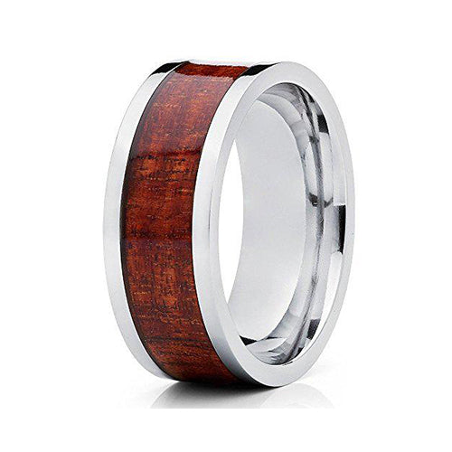 8mm Titanium Wedding Koa Wood Ring Anniversary Band Comfort Fit Design Unisex Men's Women's, Tungsten Ring, Heaven Culture Jewelry