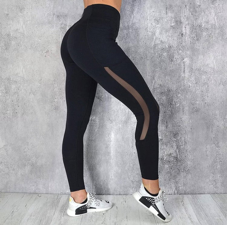 pocketed leggings black fitness tight black