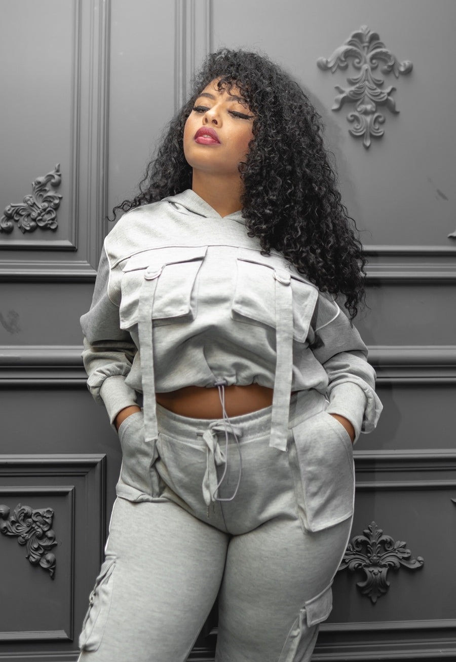 Plus Size Stone Grey 2 Piece Track Suit