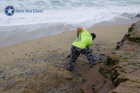 Digging for Sea Glass at Davenport Beach