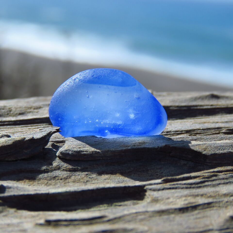 Davenport Clear with Blue Wisps Sea Glass
