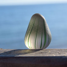 [Sold] Davenport Clear/Gray Bulb with Green Stripes Sea Glass