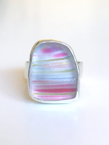 Beautiful and Rare Davenport Pink Rainbow Striped Sea Glass Ring