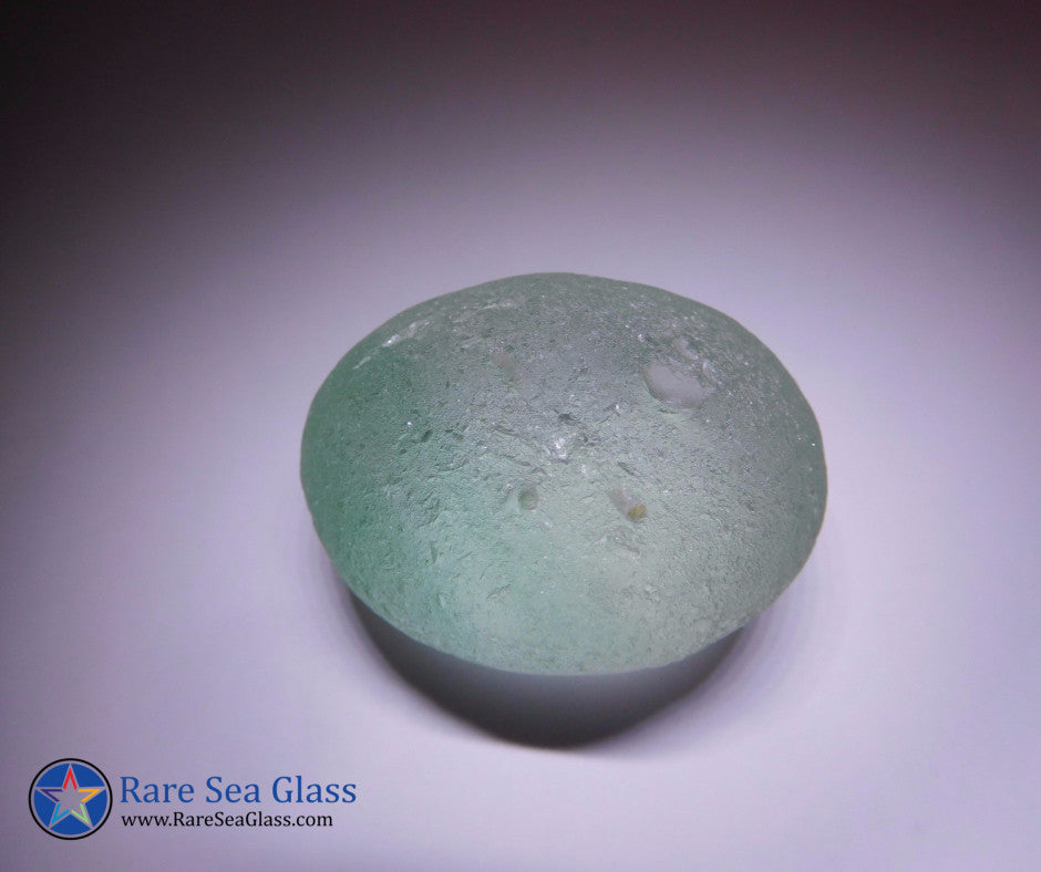 [Sold] Davenport Light Teal Blue with Turquoise Wisps Egg Sea Glass