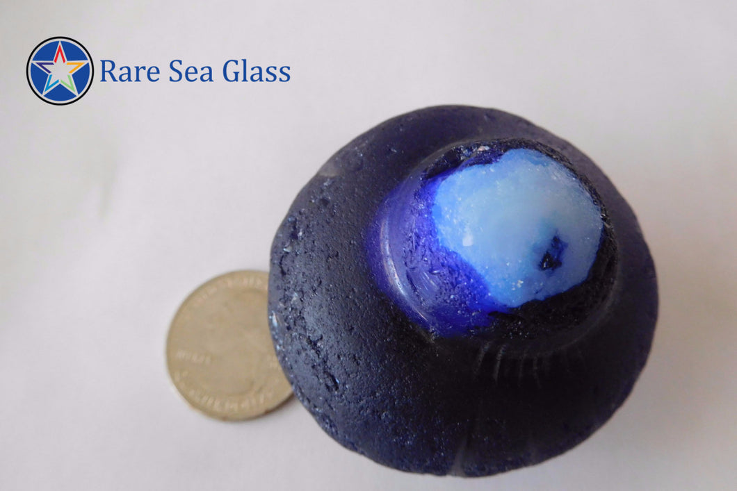 [Sold] Davenport Large Cobalt Blue Mushroom Head with White Core Sea Glass