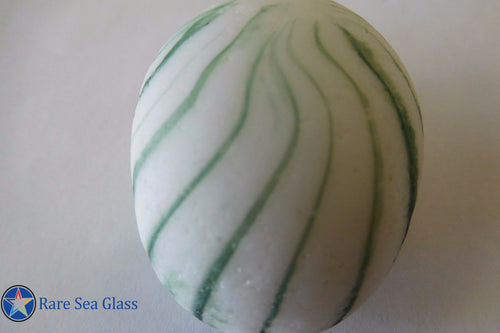 [Sold] Davenport 2 Inch Green and White Striped Egg Onion Sea Glass