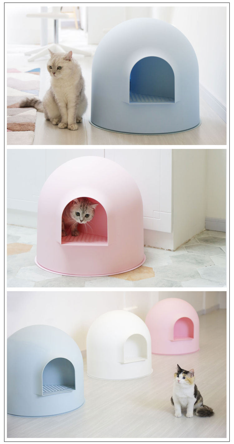 Pidan Igloo Cat Litter Box Blue Pink