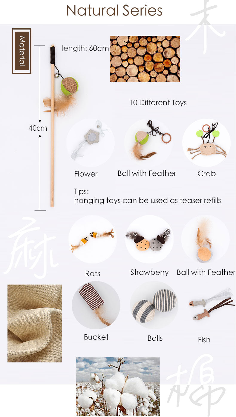 Natural Cat Feather Wand Teaser Toys