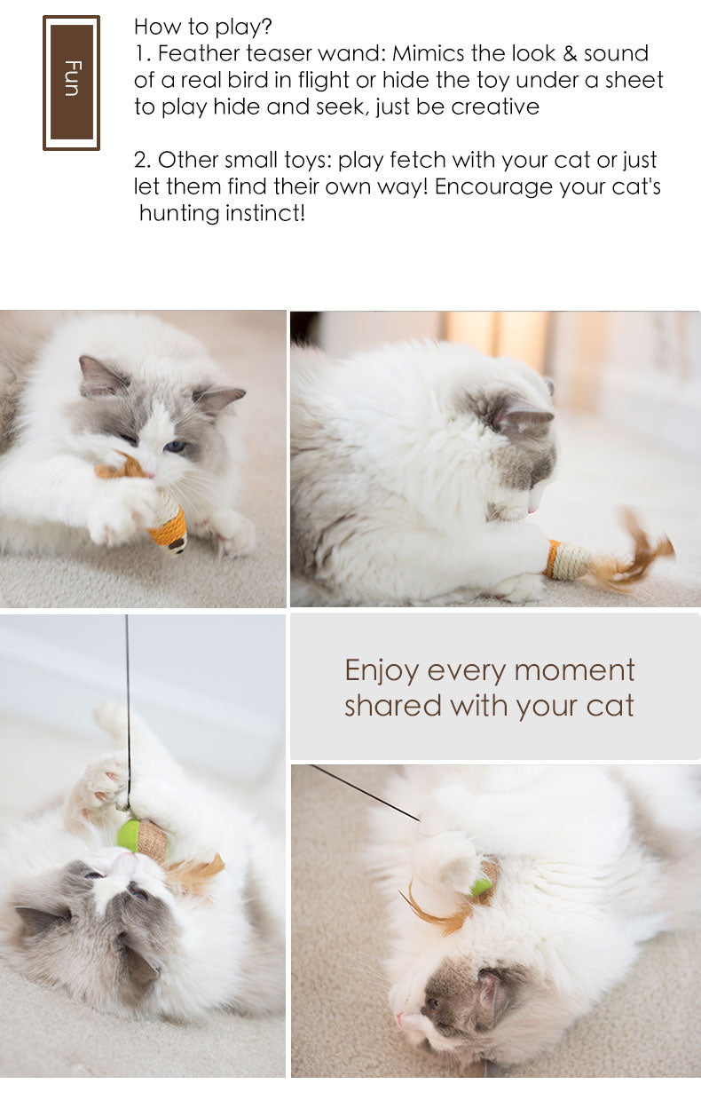 Cat Feather Wand Teaser Toys