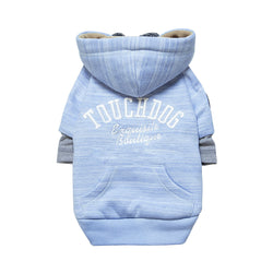 Touchdog Hampton Beach Designer Ultra Soft Sand-Blasted Cotton Pet Dog Hoodie Sweater - Blue