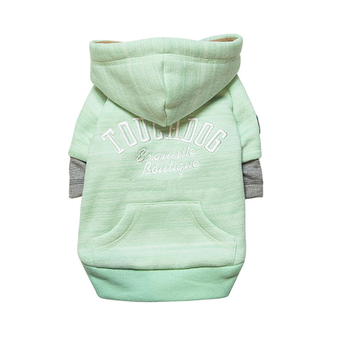 Touchdog Hampton Beach Designer Ultra Soft Sand-Blasted Cotton Pet Dog Hoodie Sweater - Green