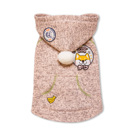 Touchdog Hippie Embellished Designer Sleeveless Pompom Pet Dog Hooded Sweater - Light Pink