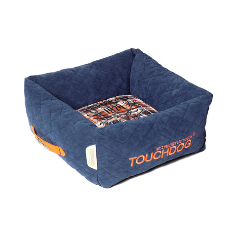 Touchdog Exquisite-Wuff Posh Rectangular Diamond Stitched Fleece Plaid Dog Bed - Blue