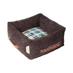 Touchdog Exquisite-Wuff Posh Rectangular Diamond Stitched Fleece Plaid Dog Bed -  Dark Brown