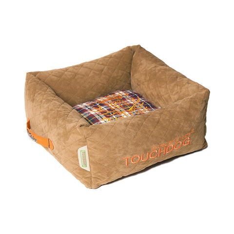 Touchdog Exquisite-Wuff Posh Rectangular Diamond Stitched Fleece Plaid Dog Bed - Light Brown
