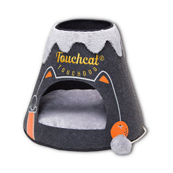 Touchcat Molten Lava Designer Triangular Cat Pet Kitty Bed House With Toy  - Black/White