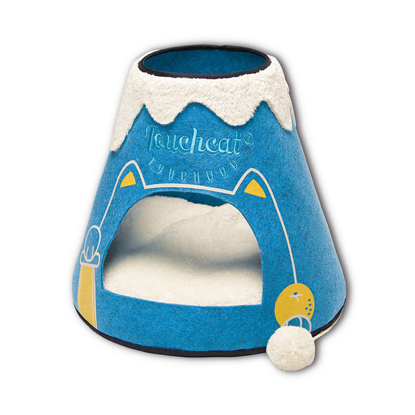 Touchcat Molten Lava Designer Triangular Cat Pet Kitty Bed House With Toy - Blue/White