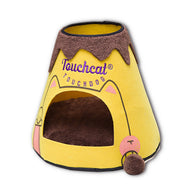 Touchcat Molten Lava Designer Triangular Cat Pet Kitty Bed House With Toy - Yellow/Brown