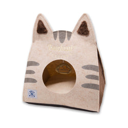 Touchcat 'Kitty Ears' Travel On-The-Go Collapsible Folding Cat Pet Bed House With Toy - Brown