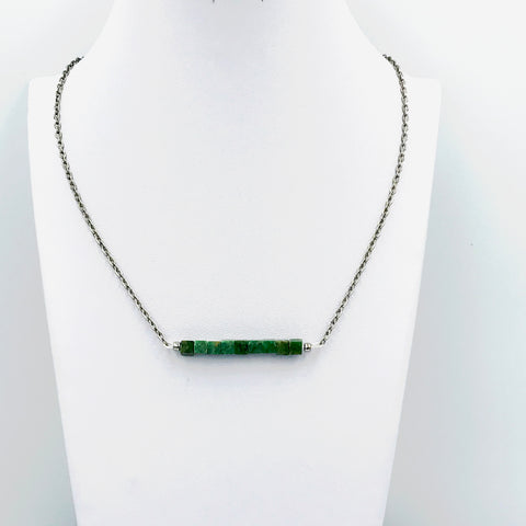 African Jade Bar Necklace