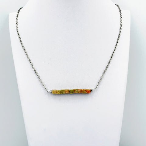 Autumn Jasper Bar Necklace