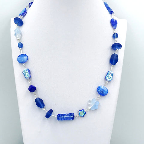 Blue Colored Czech Glass Bead Necklace