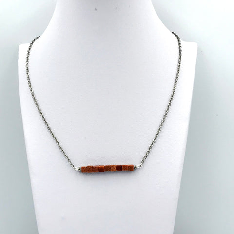 Brown Goldstone Bar Necklace