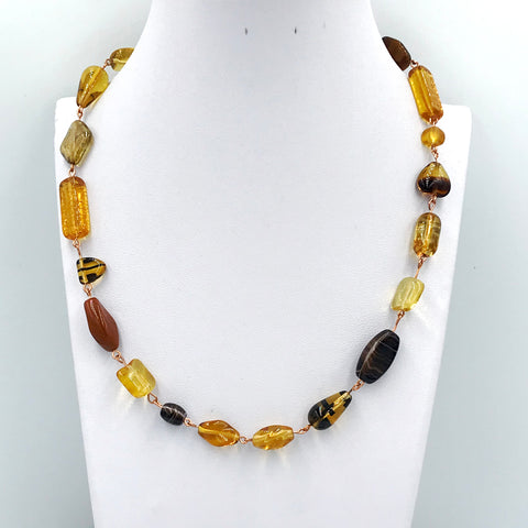 Amber Colored Czech Glass Bead Necklace