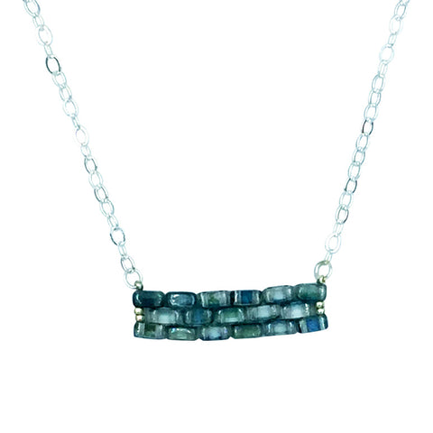 Blue Green Bar Necklace