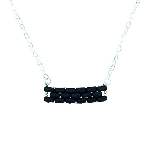 Matte Black Bar Necklace