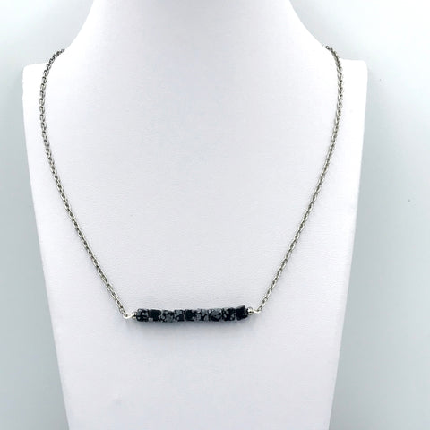 Snowflake Obsidian Bar Necklace