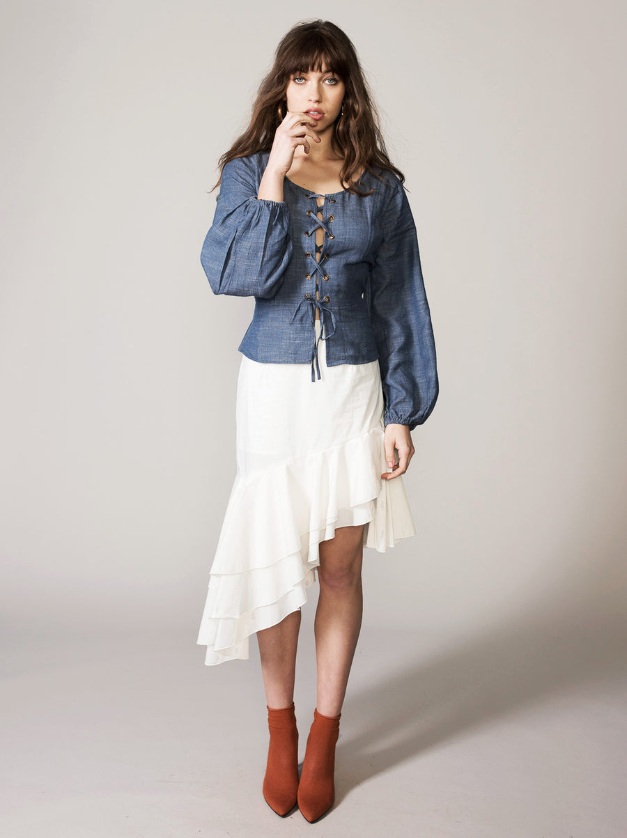 Blue Jeans Blues Blouse - Vetiver