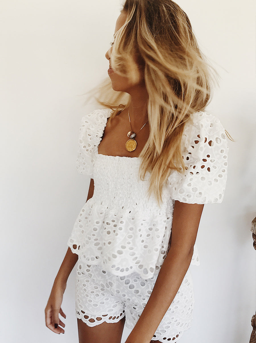 The Vetiver Collection | Halcyon Babydoll Eyelet Smocked Top