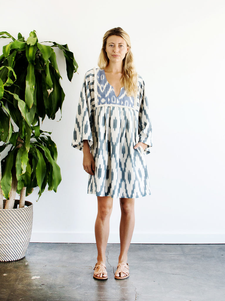 Kosmic Blues Mini Kaftan Dress - Vetiver