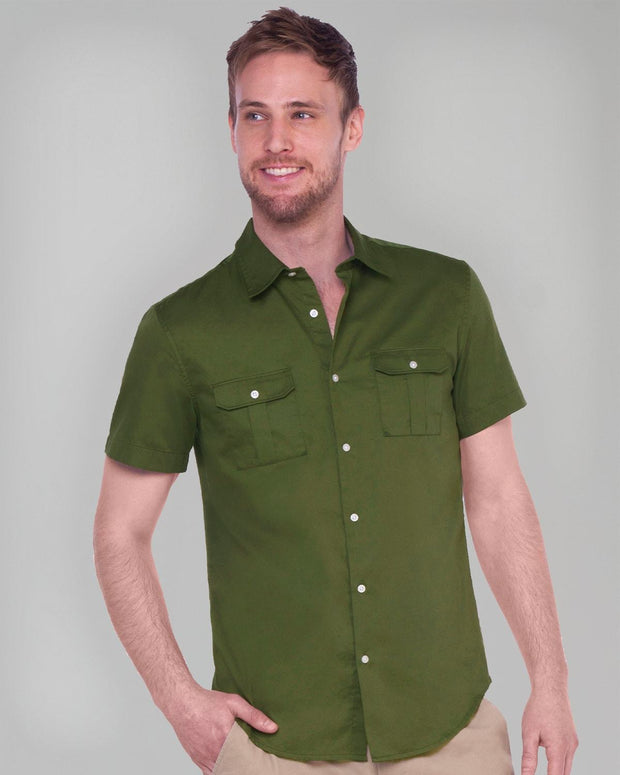 Olive Military | Short Sleeve Button Down