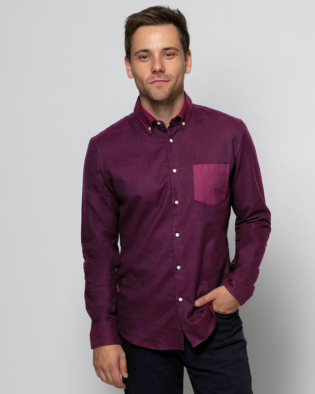 Two- Toned Bordeaux | Brushed Button Down