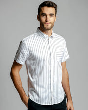 Vertical Stripe | Stretch Short Sleeve Button Down Shirt