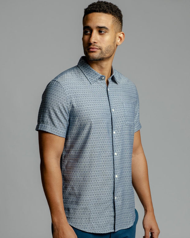 Diamond Print | Short Sleeve Button Down Shirt