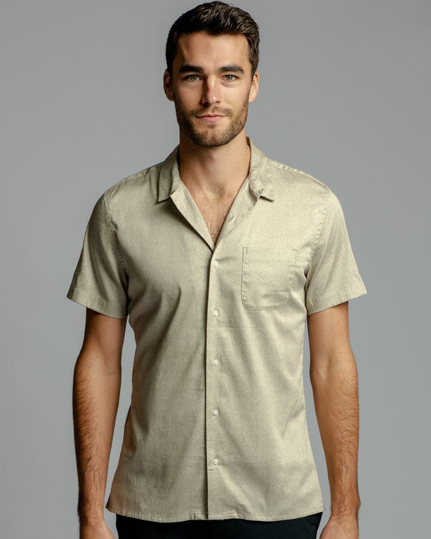 Moonstruck Brown Print | Stretch Short Sleeve Button Down Shirt