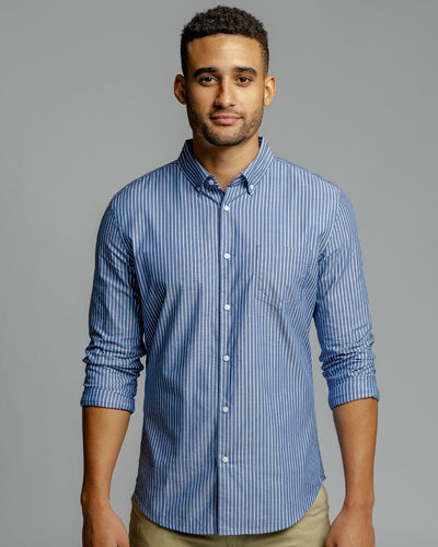 Blue Pinstripe | Long Sleeve Button Down Shirt