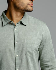Olive Linen | Long Sleeve Button Down