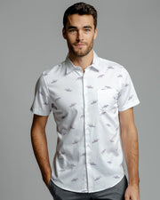 Jaguar Print | Stretch Short Sleeve Button Down Shirt