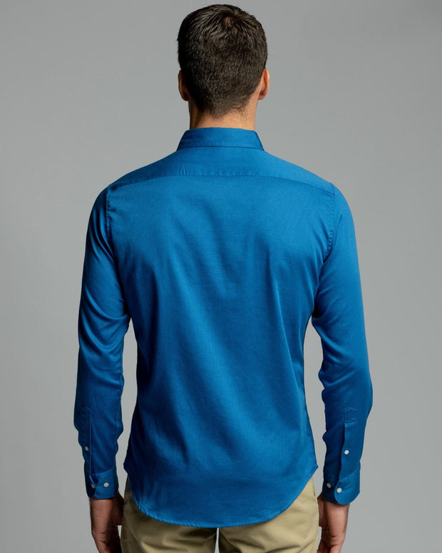 Blue Weave | Stretch Long Sleeve Button Down Shirt