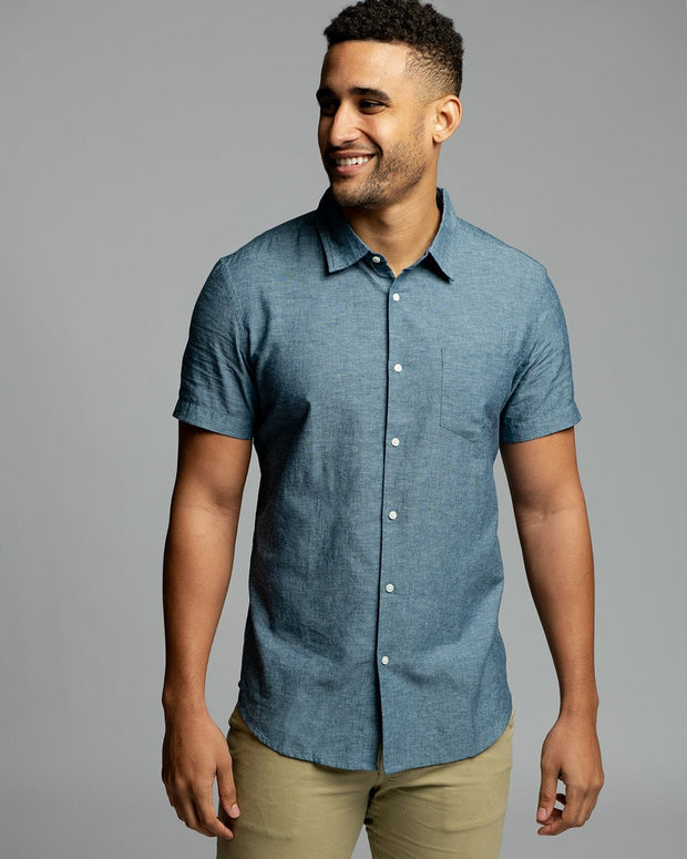 Blue Linen | Short Sleeve Button Down