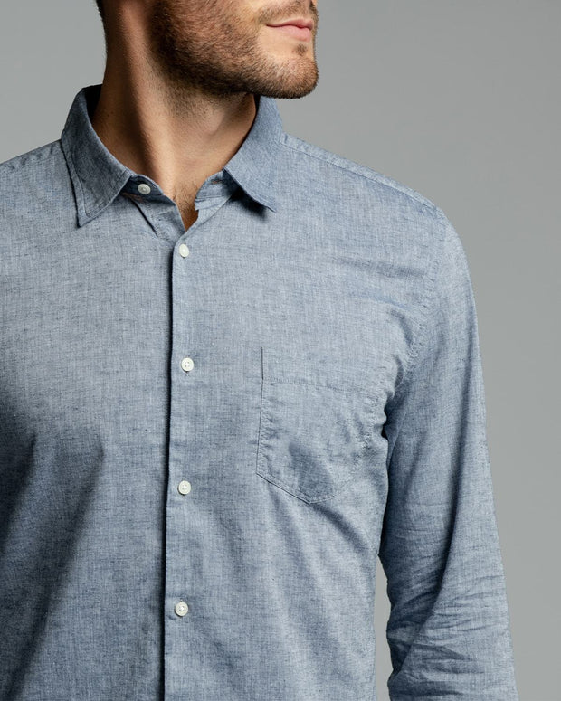 Blue Linen | Long Sleeve Button Down