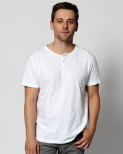 White Slub Short Sleeve Henley