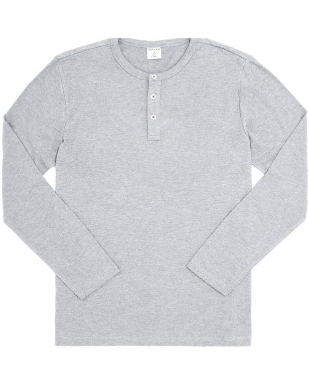 Heather Grey Slub Long Sleeve Henley